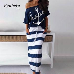 Elbise Çift Fanbety Omuz Kadın Setleri Seksi Kapalı Tekne Çapa Baskı Gömlek Elbise Setleri Lady Rastgele Tek Uzunluklar Elbise