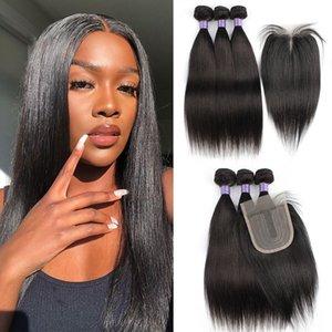 Paquetes de cabello humano con cierre 200 g / set Strauty Wave Wave Jerry Rizada Rizado Extensión del cabello brasileño 4 * 4 Cierre con par de encaje
