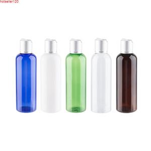 200ml x 12 Yüksek Kalite Yuvarlak Plastik Şişe Gümüş Alüminyum Disk Kap ile Boş Kozmetik Pet Konteyner Şampuan Losyonu CreamHigh Quatiy