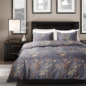 Modern Style Grey Color Bedding Set King Size Bronzing Flower and Birds Pattern Duvet Cover Set Exquisite Luxury Home Textiles