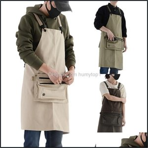 Textiles Home & Gardenfashion Wear Canvas Waterproof Apron Denim Kitchen Overalls Shoulder Bag Aprons Drop Delivery 2021 Odm74