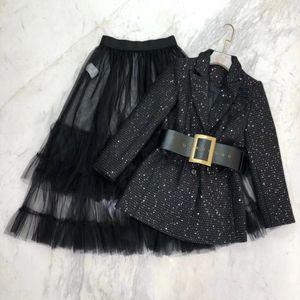 210 XL 2021 Runway Dress Spring Summer Free Shippi Long Sleeve lapel Neck Tweed Coat Fashion Womens Clothes Women's Two Piece Sets Dress we