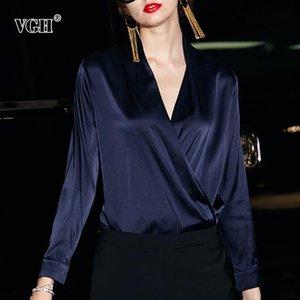 VGH 2021 verão camisa vintage para mulheres v pescoço manga comprida botão slim vestuário sólido top feminino moda nova maré nova