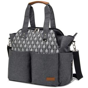 2021 Custom Tote Diaper Bag Travel Mommy Bag Changing Waterproof Multi-Function Travel Black Mummy Tote Diaper Bag Stroller