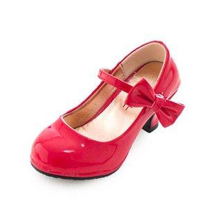 Kids Shoes Girls Shoes Leather High Heeled Shoes Fashion Children Footwear Bowknot Princess Dress Shoe B4138