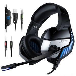 Onikuma K5 Pro 3.5mm Gaming Kulaklıklar En Iyi Casque Kulaklık Kulaklık Ile MIC LED Işık Dizüstü Tabletler / PS4 / Yeni Xbox One
