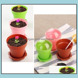 Planters Pots Patio, Lawn Garden Home Gardenflower Pot Cake Cups & Spoon Set Ice Cream Ecoration For Wedding Kids Birthday Party Supplies Ba