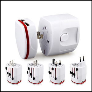 Новые Все в одном двойном USB-порту и нам британский Au Eu Universal Travel Adapter AC Power Plug Adapter EU UK US Au White Black DHL Бесплатная доставка