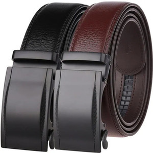 Fashion business simple men's belt men's casual leather automatic buckle alloy buckle two-layer belt Free shipping