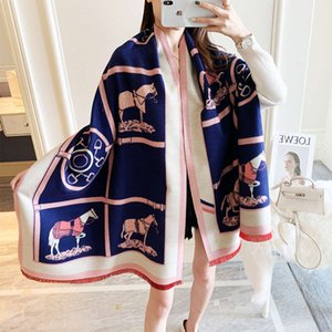 2020 new coach double side printing cashmere like scarf for women in autumn and winter