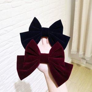 Coréen Golden Veet Red Black Boor Pince à cheveux EXQUISE EXQUISITE DE FEMMES Tissu de couleur solide populaire