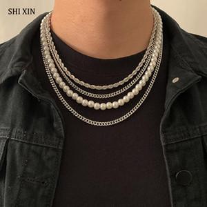 Shixin 4 PCS Perles Perles Perles épaisses Chaîne de cou de chaîne Collier Set Hommes / Femmes Hip Hop Collier multi-couches Chaîne sur les bijoux du cou