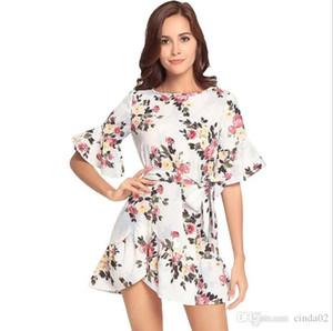 Women Summer Dress Ruffle Bohemian Floral Print Beach Boho Dress Sexy Crew-Neck Short Sleeve Mini Dress
