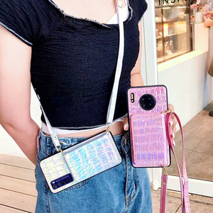 Luxury Laser Crocodile Texture lanyard Wallet Phone Case For iphone 11Pro MAX P40 SE XS MAX X XR 7 8Plus Card Package Soft Cover