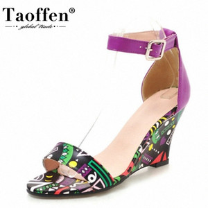 TAOFFEN Women Wedges Shoes Fashion Ankle Buckle Women Sandals Painted Print Open Toe Casual Outdoor Travel Footwear Size 33 43 Skecher K2qp#