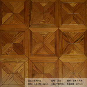 Custom Golden Yellow Oak wood flooring Mosaic High-end floor products parquet tile wall decor medallion inlay timber marquetry finished tile
