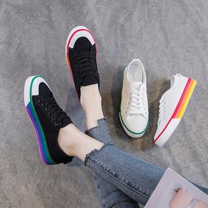 Zapatos de lona para mujer 2019 primavera otoño casual encaje hasta zapatillas de deporte negras para mujer zapatos blancos para estudiantes zapatillas de deporte planas para mujer zapatillas de deporte 36xo #