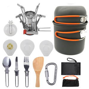 Cooking Sets Out-of-door Camping Cookware Portable 1-2 People Picnic Stove Cookware Sets Bowl Spoon Dishwash Carabiner Spatula HH21-99