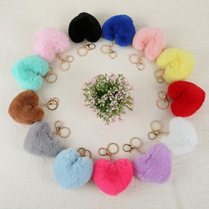 Fashion Heart Pompoms Keychain Colorful Fuzziness Plush Balls Keyring Decorative Pendant for Women Car Bag Accessories Key Ring Kimter