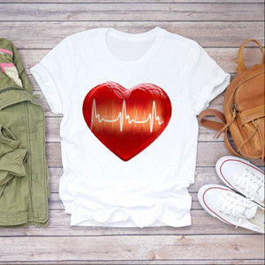 Women 90s Love Shape Short Sleeve Sweet Heartbeat Clothes Lady T shirts Top Womens T Shirt Ladies Graphic Female Tee T Shirt