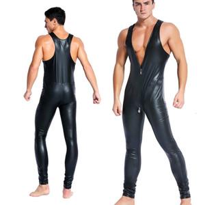 2021 جديد فو جلدية المثيرة يوتار مثلي الجنس الرجال مثير سستة صنم اللاتكس clubwear catsuit pvc ازياء تأثيري الجسم البدلة بذلة وزرة O2BW