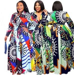 Plus size 3XL 4XL 5XL Summer Women one-piece dress bigger size long sleeve maxi dresses fashion print dress loose long skirt DHL SHIP 4514