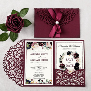 1piece Hot Sale Wedding and Quinceanera Invitations with Ribbon Glitter Laser Cut Hollow Pocket