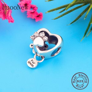 FIT Orijinal Pandora Charm Bilezik Otantik 100% 925 Gümüş Aşk Kalp Kürk Anne Köpek Paw Baskı Boncuk Yapma Kadın Berloque 2020 Q0531