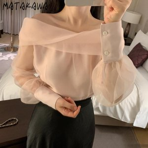 Women's Blouses & Shirts MATAKAWA Loose Long Sleeve Micro-through Mesh Shirt Women Korean Elegent Slash Neck Cross Blusas Mujer De Moda