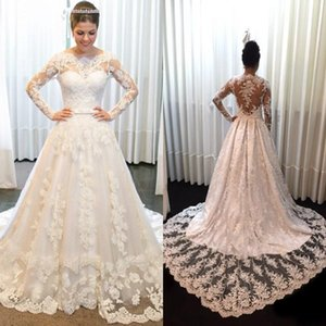 2021 Luxury Wedding Dresses A Line Bateau Long Sleeve Sweep Train Bridal Gowns With Lace Applique Custom Made Wedding Gowns For Beach Garden
