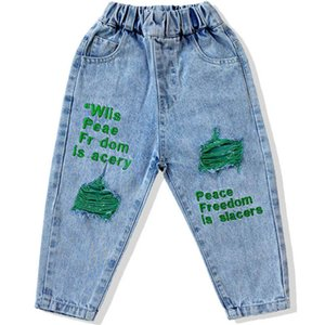 Spring Letter Kids Jeans Denim Boys Pants Hole Loose Girls Trousers Baby Clothes Toddler Wear 1-7Y SM013