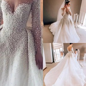 Pearls Beaded Detachable Wedding Dresses Mermaid Luxury Arabic Dubai Long Sleeves Bridal Gowns Vestido De Noiva Brautkleider