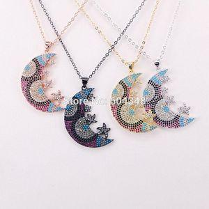 5 fios Zyunz jóias Crescent Moon Design Eye Design Micro Pave Sparking Bling Cz Pingente Colar