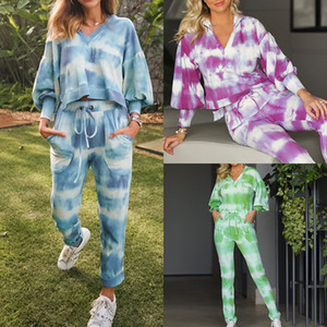 European and American Fashion Printing Tie-dye Jacket Casual Trouser Suit Women's Casual Suit Two Sets