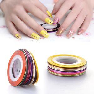 20Pcs Colorful Nail Rolls Striping Tape Pull Line DIY Nail Art Tips Decoration Sticker Nails Care Nail Gel Polish Decoration