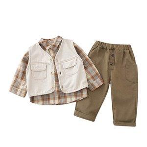 Spring Baby Clothes Toddler Boys Suits Infant Outfits 3Pcs Set Denim Vest+Shirt+Trousers 0-4Y SM005