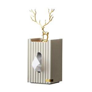European Golden Deer Boîte de tissu rectangulaire Résine à rayures de tenue de tenue de tenue de tenue de tenue de tenue d'artisanat salon de bureau