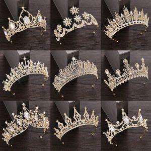 Crystal Tiara Crown Wedding Hair Accessories Bridal Jewelry Golden Diadem 210616