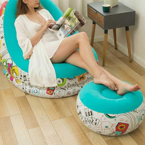 Portable Inflatable Sofa Comfortable Chair Longue with Footstool for Living Room Balcony Camping Bed Outdoor Sun Loungers