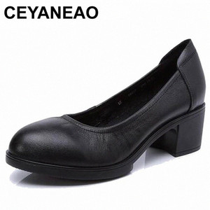 CEYANEAO 2019 Genuine leather women high heels pumps female OL COMFORTABLE black work shoes 34-41E1927 l6vR#