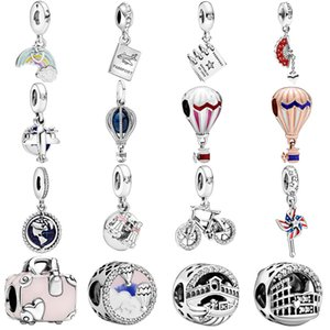 Hot Sale 925 Sterling Silver Travel Series Charms Beads fit Original Pandora Charm Bracelets Women DIY Jewelry