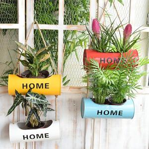 Parete a corda appesa in ferro appeso floreale vasi di fiori balcone pianta da giardino piantatrice, tenuta in metallo a parete