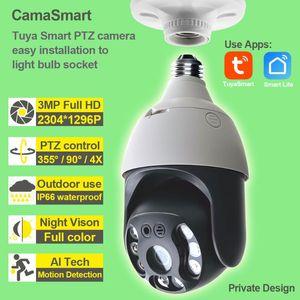 3MP Tuya Wifi Ip Camera PTZ Smart Home Wireless Light Bulb Waterproof Digital Zoom Easy Install for Indoor Or Outdoor Use
