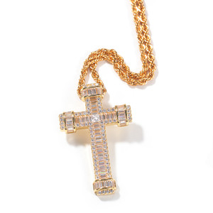 European and American hip-hop cross pendant personality T square zircon simple necklace trendy accessories wholesale