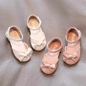 Sandals Summer Girls Shoes Bowtie Princess Ankle Strap Flats Children Round Tod Kid Baby Leather Dress Toddlers