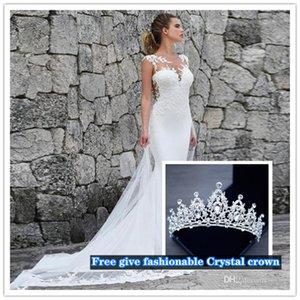 2021 Vestidos de novia Sirena blanca con encaje Plus Tamaño Vestidos nupciales Vestidos de Boho Vestido de novia Playa Vestidos de novia góticos baratos