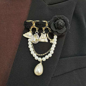 HBP Korean Fashion Camellia pearl pin tassel temperament luxury suit Brooch sweater accessories