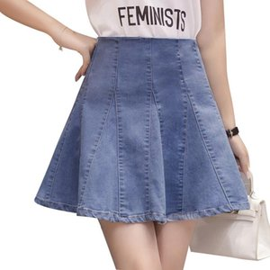 Skirts Denim Mini Female 2021 Spring & Summer High Waist A-line Hip Skirt Short Pleated Jean Umbrella BSQ110