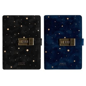B6 Suede Travel Notebook w  Combination Lock Password Star Agenda Diary Journal M17F