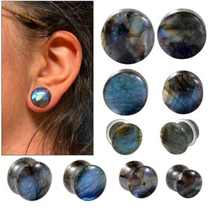 Best selling plagioclase iridescence Stone earrings with solid trumpet and waist drum EarringsDTBB